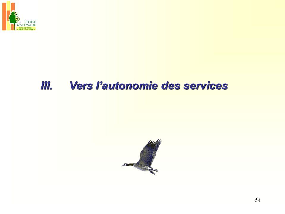 III. Vers l'autonomie des services