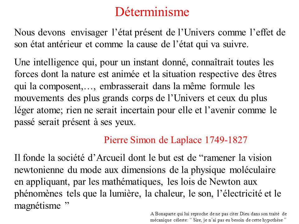 DéterminismeNous devons envisager l'état présent de l'Univers comme l'effet de son état antérieur et comme la cause de l'état qui va suivre.