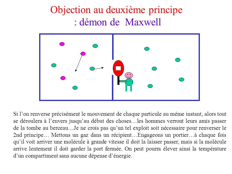 Objection au deuxième principe : démon de Maxwell