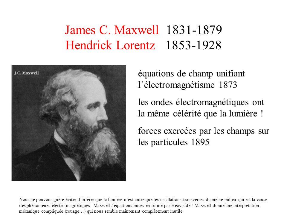 James C. Maxwell 1831-1879 Hendrick Lorentz 1853-1928