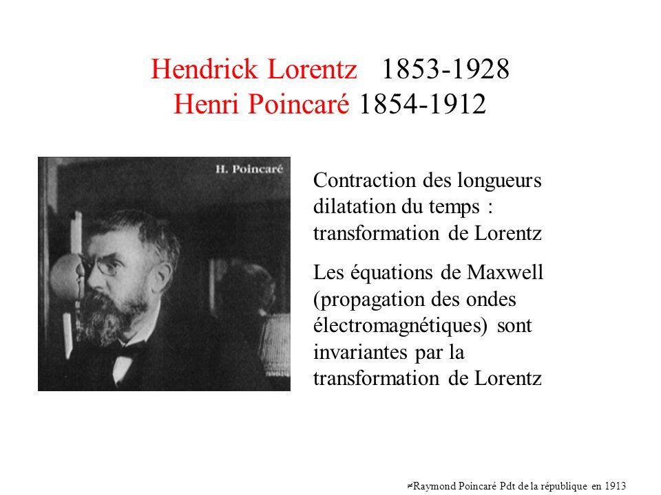 Hendrick Lorentz 1853-1928 Henri Poincaré 1854-1912