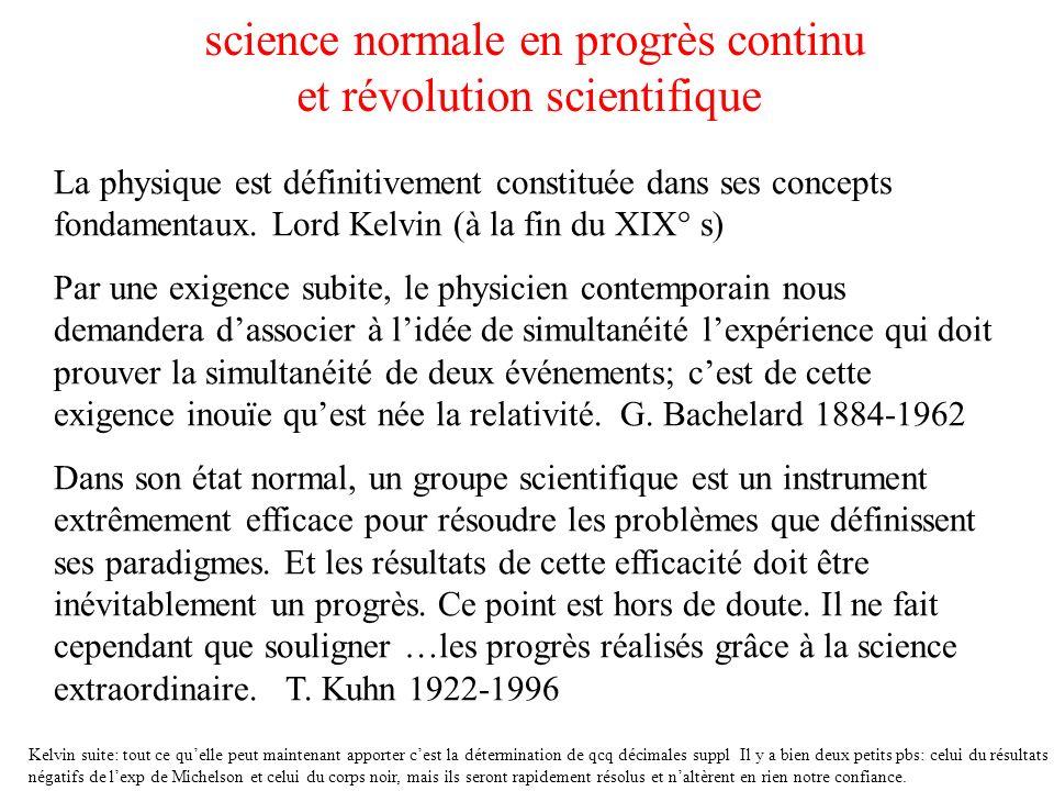 science normale en progrès continu et révolution scientifique