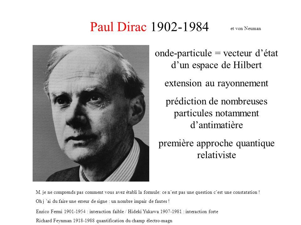 Paul Dirac 1902-1984 et von Neuman. onde-particule = vecteur d'état d'un espace de Hilbert. extension au rayonnement.