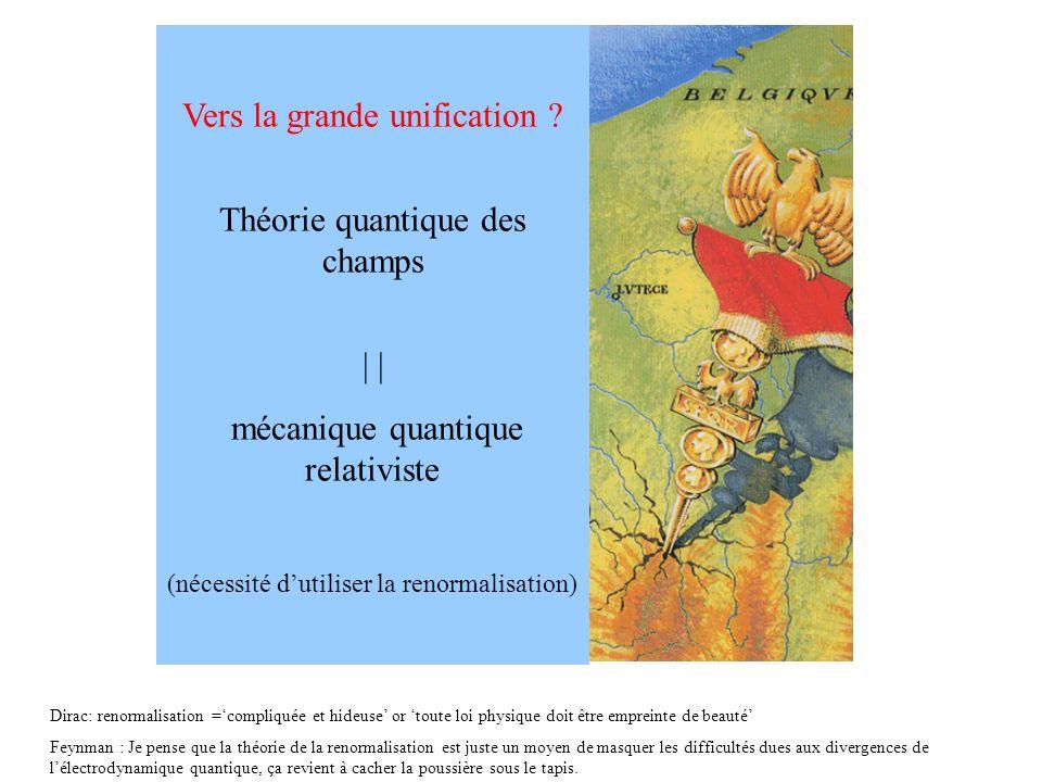 Vers la grande unification Théorie quantique des champs