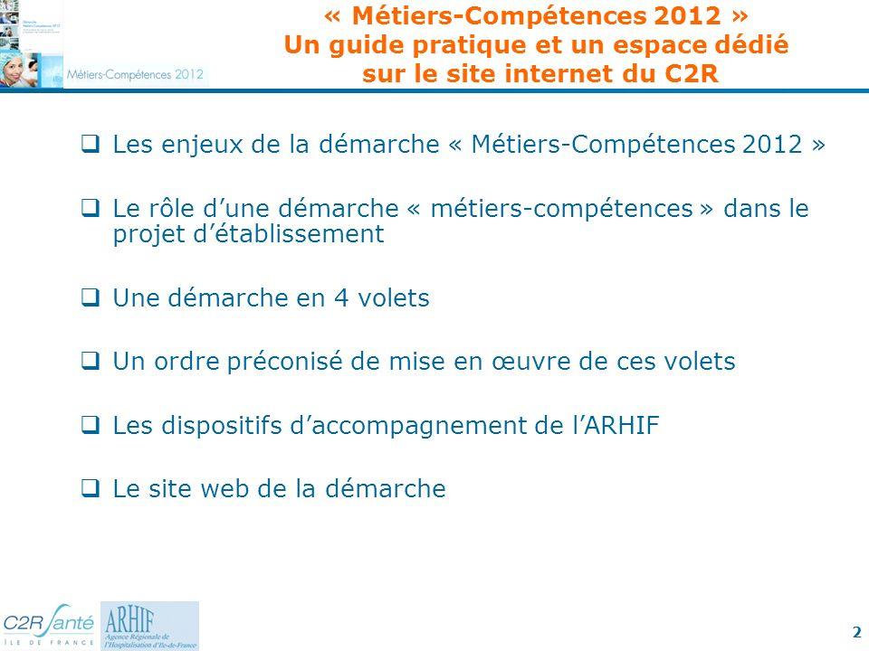 « Métiers-Compétences 2012 » Un guide pratique et un espace dédié sur le site internet du C2R