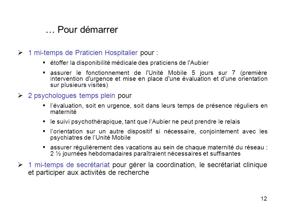… Pour démarrer 1 mi-temps de Praticien Hospitalier pour :