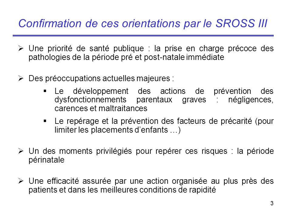 Confirmation de ces orientations par le SROSS III