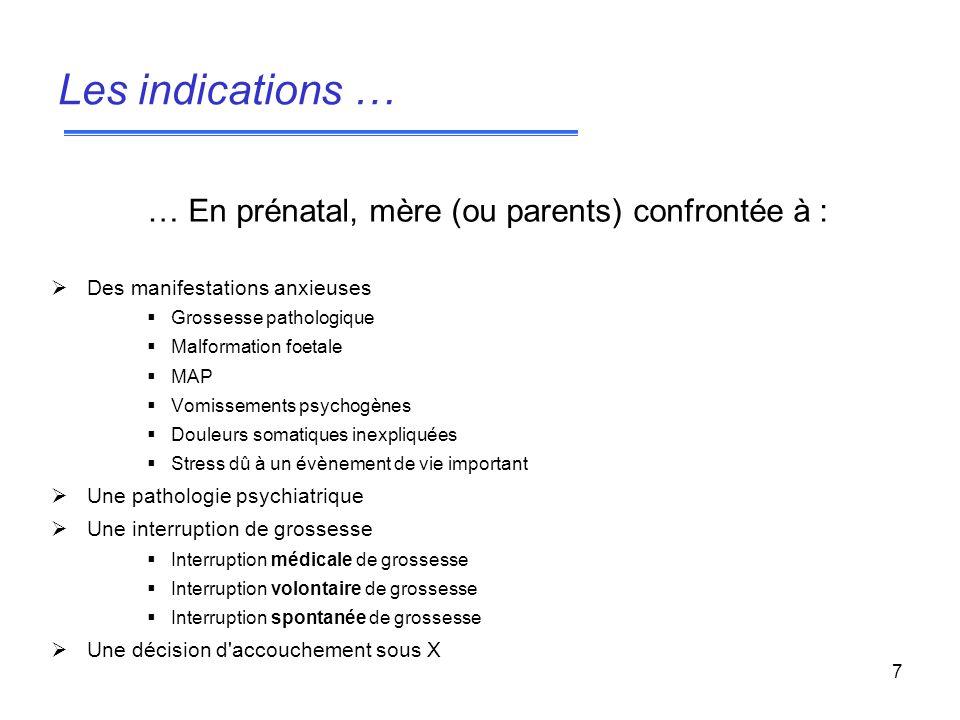 Les indications … … En prénatal, mère (ou parents) confrontée à :