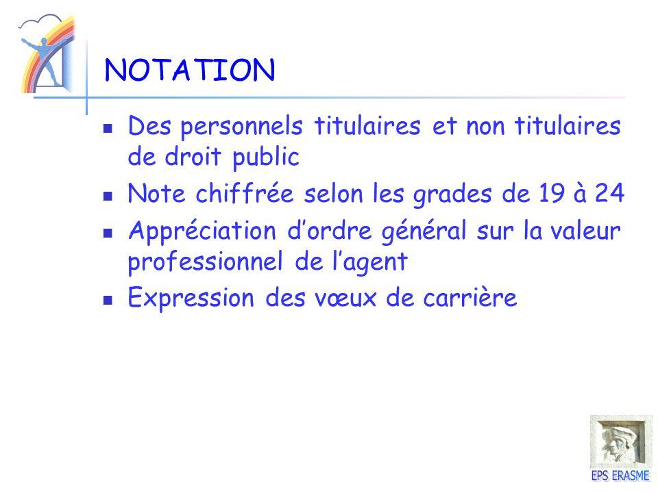 NOTATION Des personnels titulaires et non titulaires de droit public
