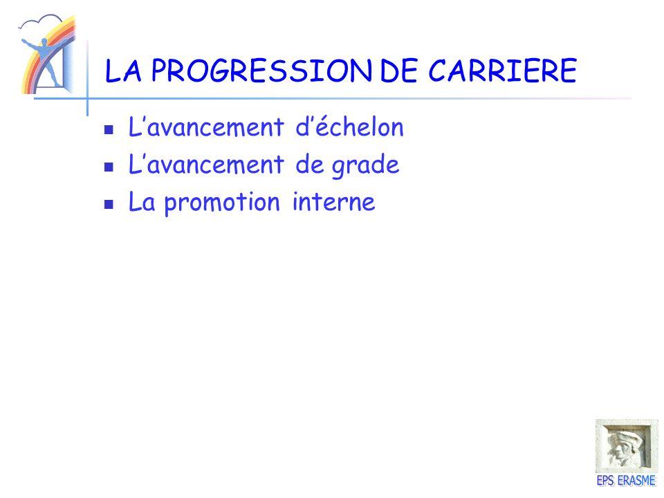 LA PROGRESSION DE CARRIERE