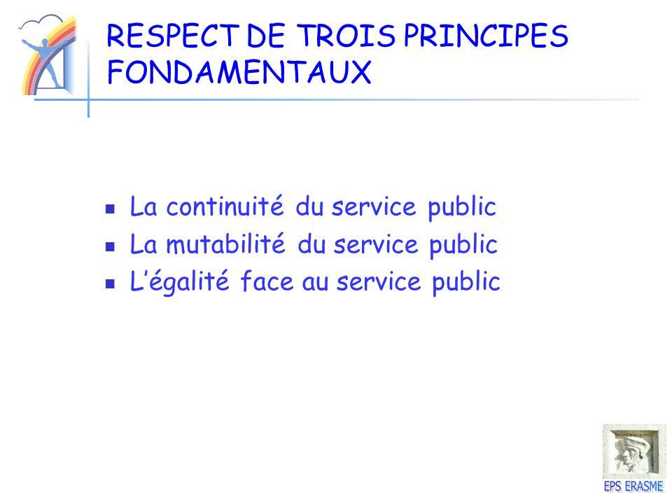 RESPECT DE TROIS PRINCIPES FONDAMENTAUX
