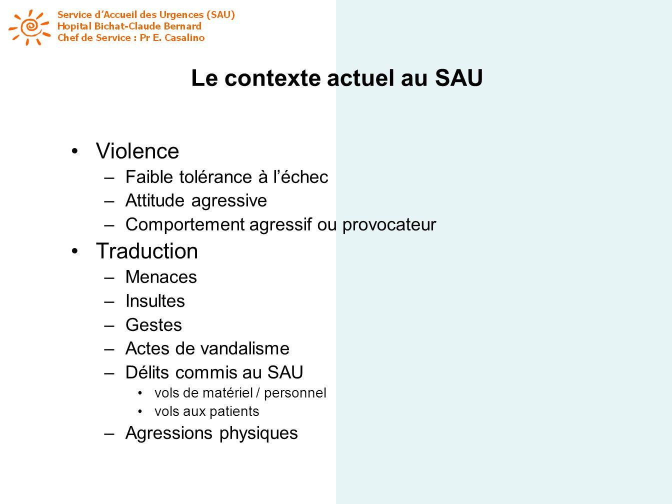 Le contexte actuel au SAU