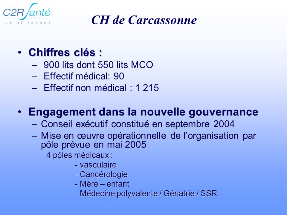 CH de Carcassonne Chiffres clés :