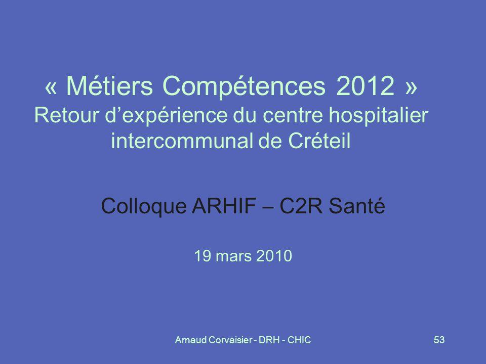 Colloque ARHIF – C2R Santé 19 mars 2010