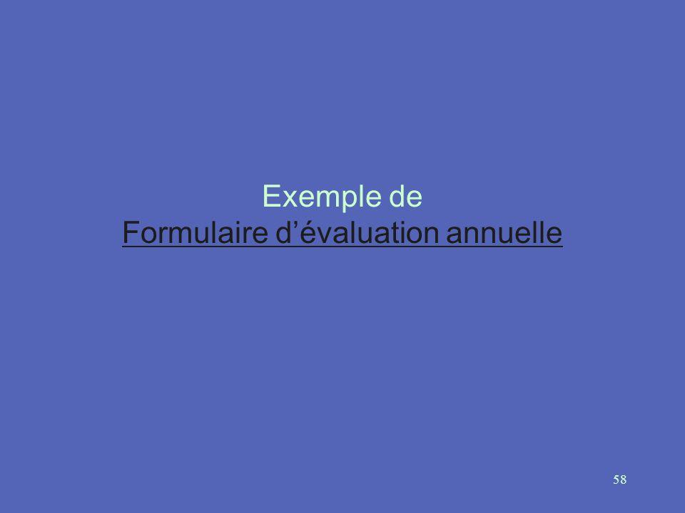 Exemple de Formulaire d'évaluation annuelle