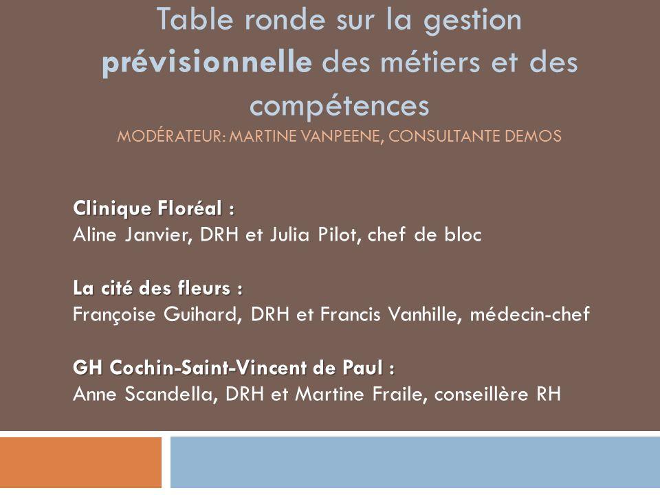 Table ronde sur la gestion prévisionnelle des métiers et des compétences Modérateur: martine vanpeEne, consultante demos