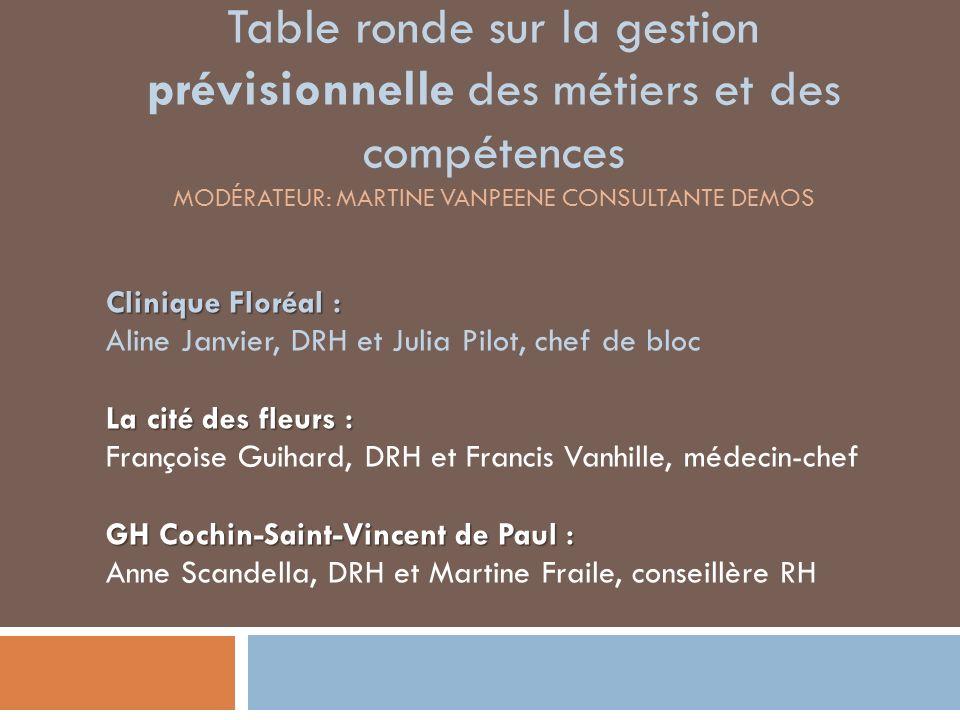 Table ronde sur la gestion prévisionnelle des métiers et des compétences Modérateur: martine vanpeEne consultante demos