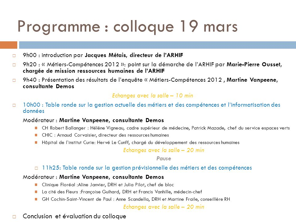 Programme : colloque 19 mars