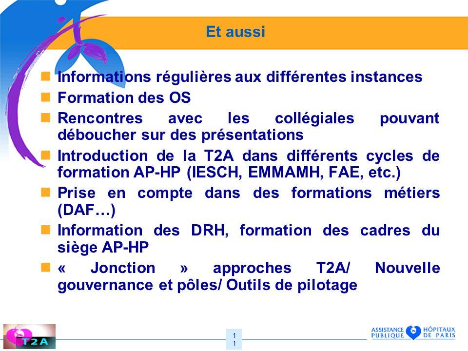 Et aussi Informations régulières aux différentes instances. Formation des OS.