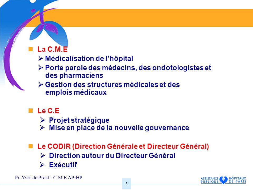 La C.M.E  Médicalisation de l'hôpital.  Porte parole des médecins, des ondotologistes et des pharmaciens.