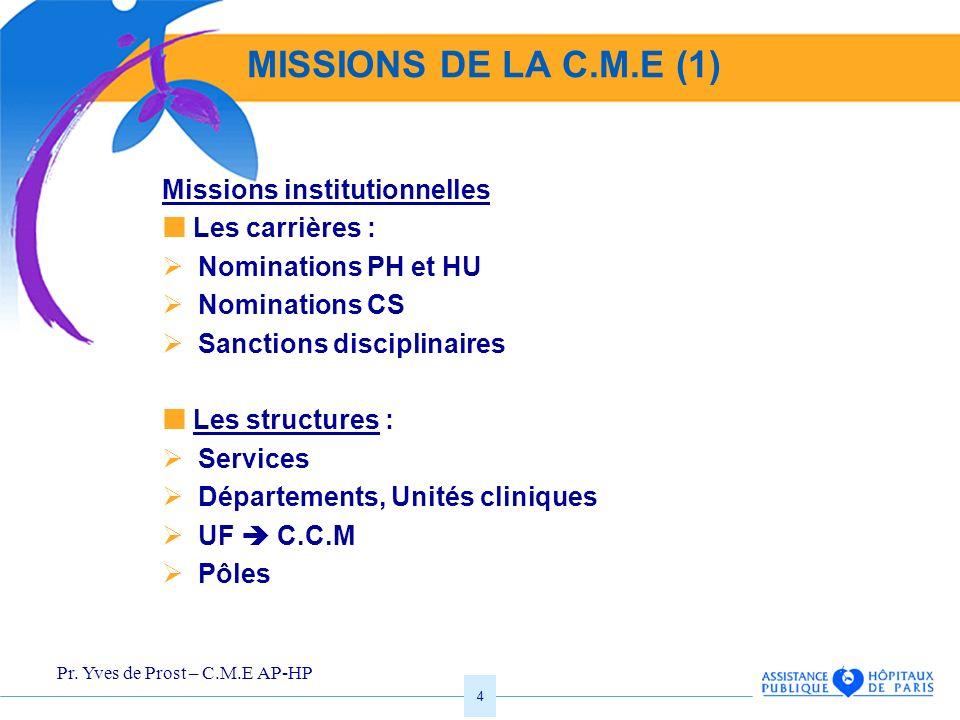 MISSIONS DE LA C.M.E (1) Missions institutionnelles  Les carrières :