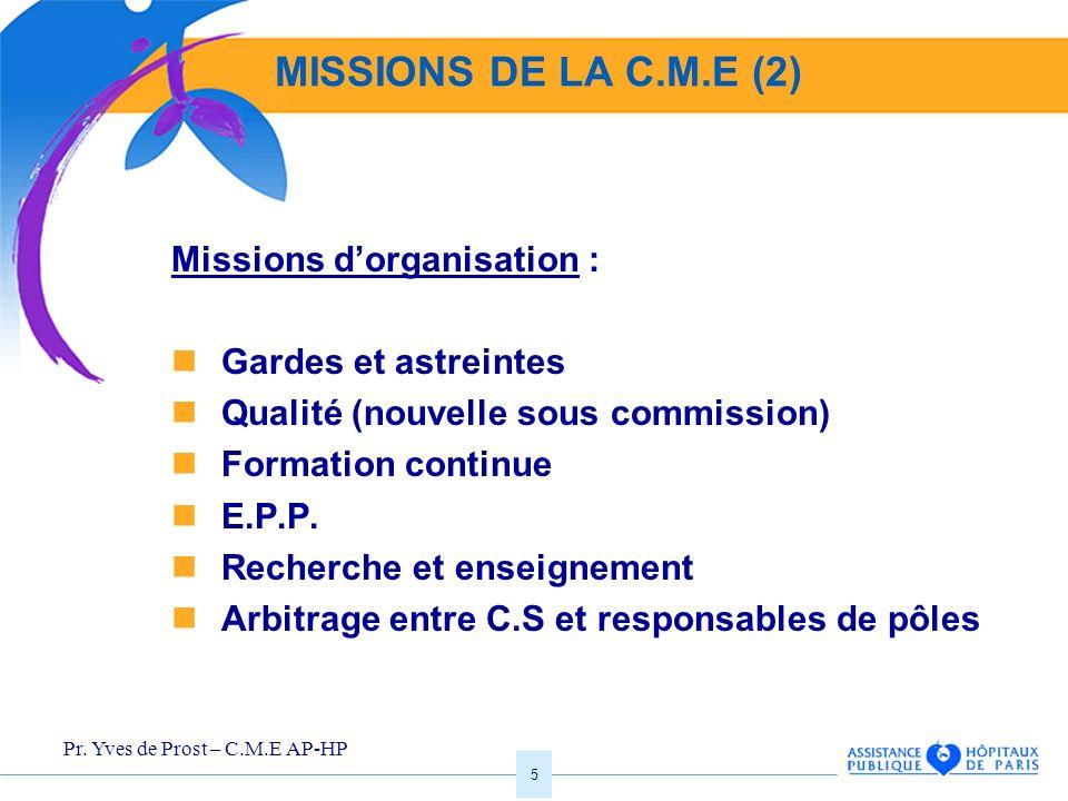 MISSIONS DE LA C.M.E (2) Missions d'organisation :