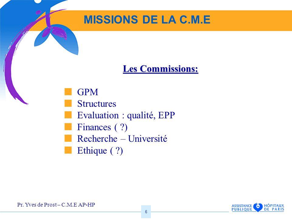 MISSIONS DE LA C.M.E Les Commissions:  GPM  Structures