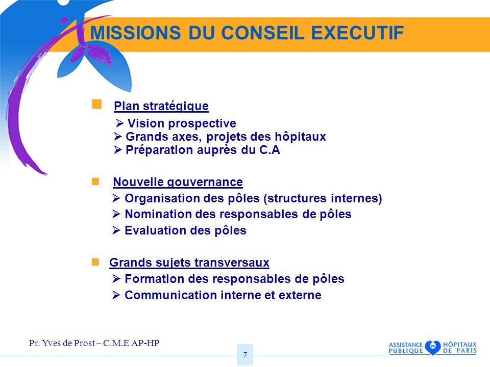 MISSIONS DU CONSEIL EXECUTIF