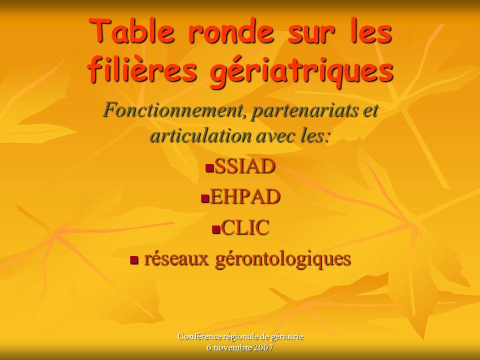 Table ronde sur les filières gériatriques