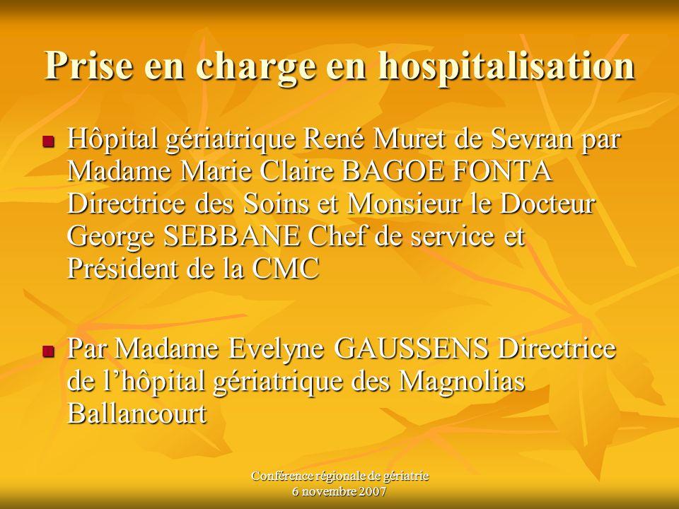 Prise en charge en hospitalisation