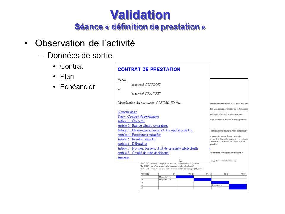 Validation Séance « définition de prestation »