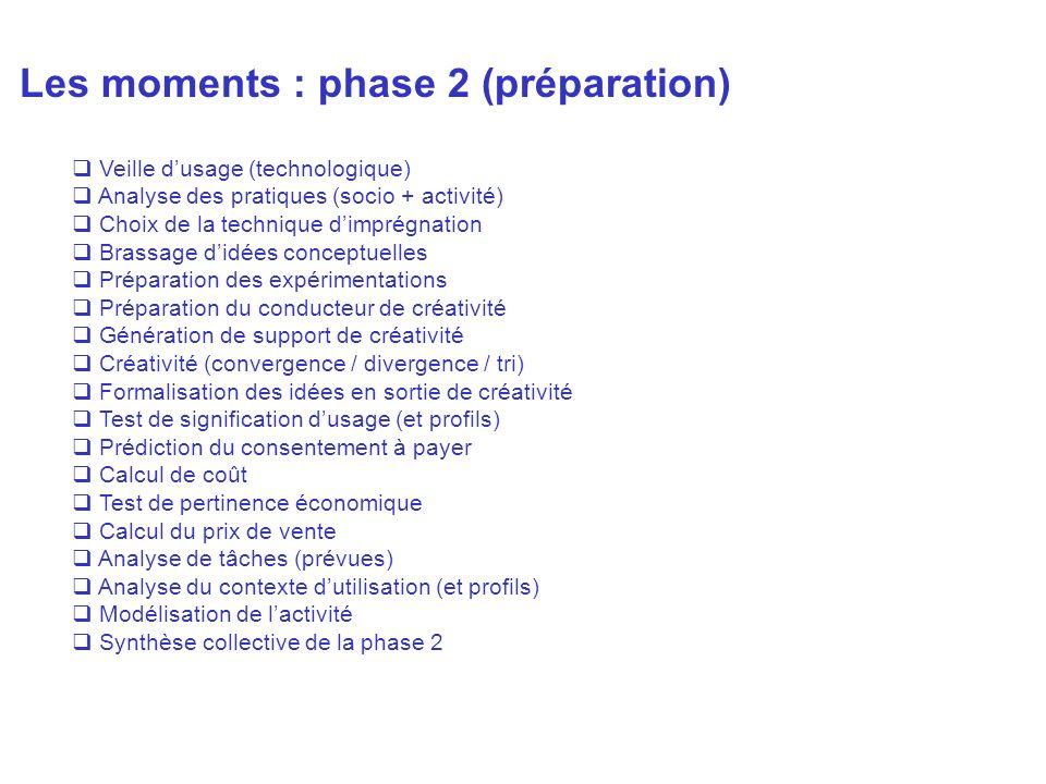Les moments : phase 2 (préparation)
