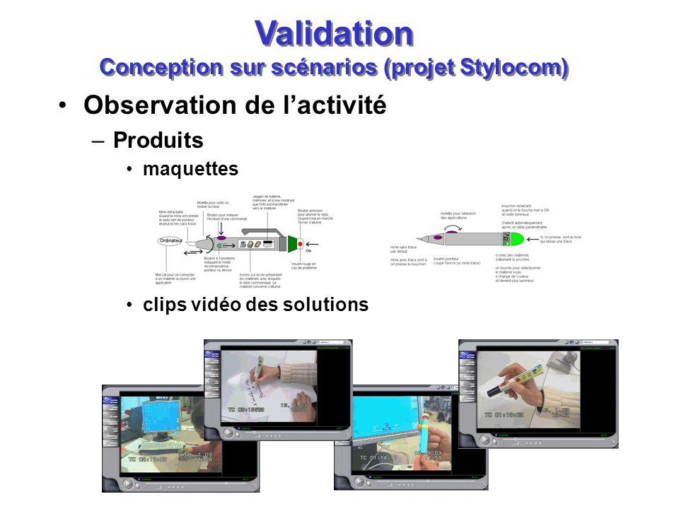Validation Conception sur scénarios (projet Stylocom)