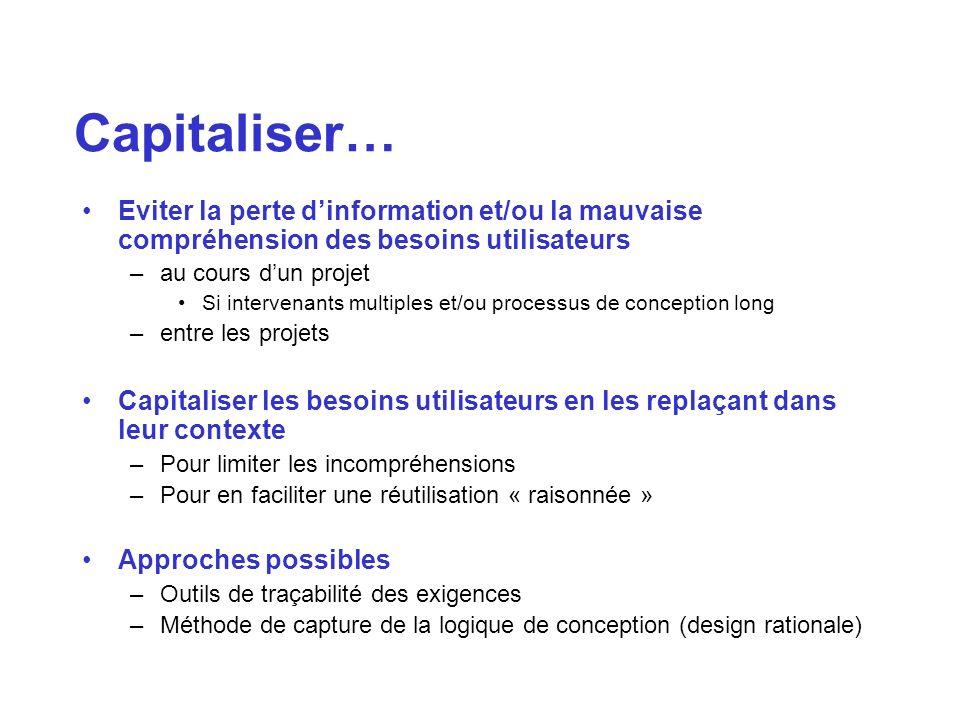 Capitaliser…Eviter la perte d'information et/ou la mauvaise compréhension des besoins utilisateurs.