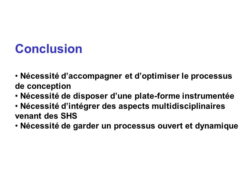 Conclusion Nécessité d'accompagner et d'optimiser le processus de conception. Nécessité de disposer d'une plate-forme instrumentée.