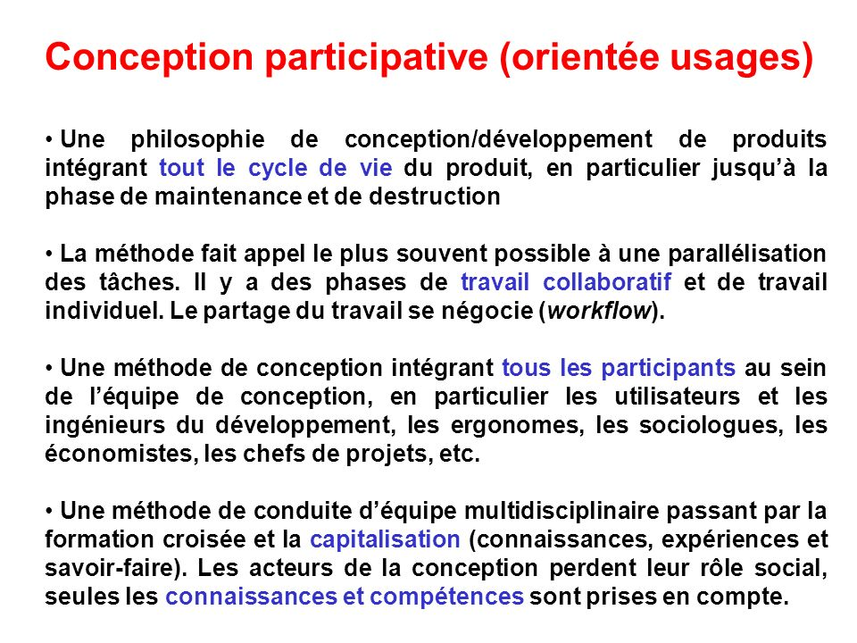 Conception participative (orientée usages)