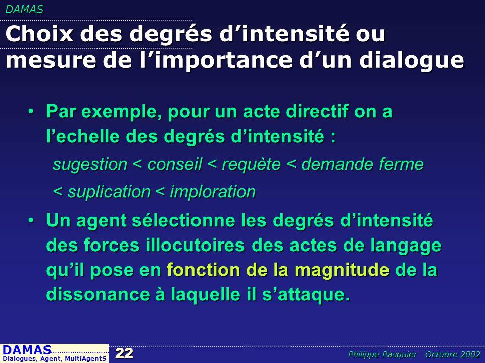 Choix des degrés d'intensité ou mesure de l'importance d'un dialogue