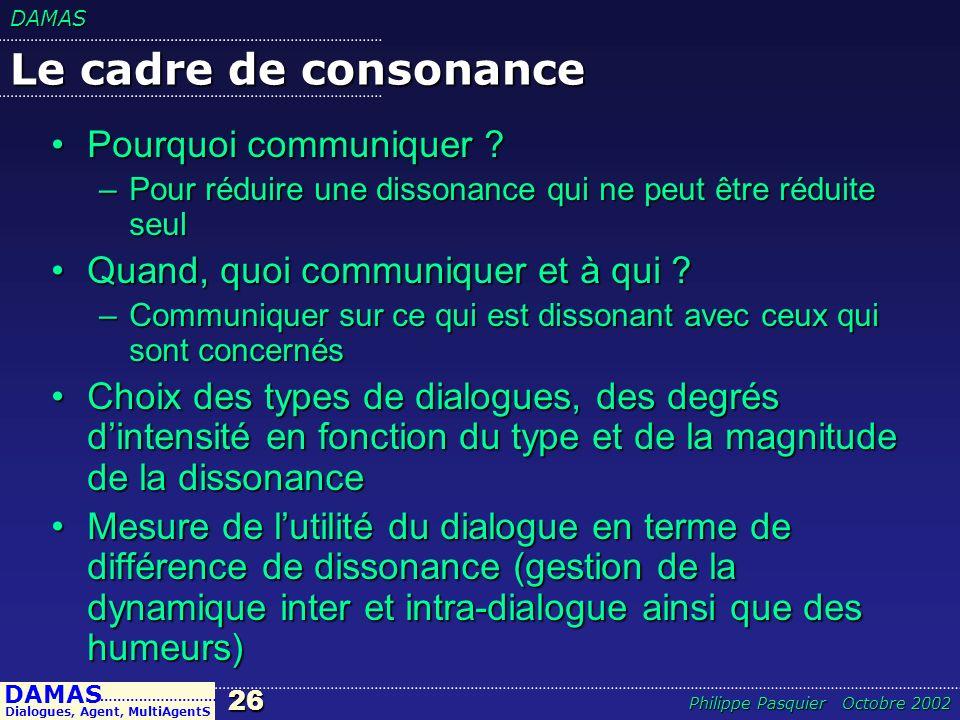 Le cadre de consonance Pourquoi communiquer