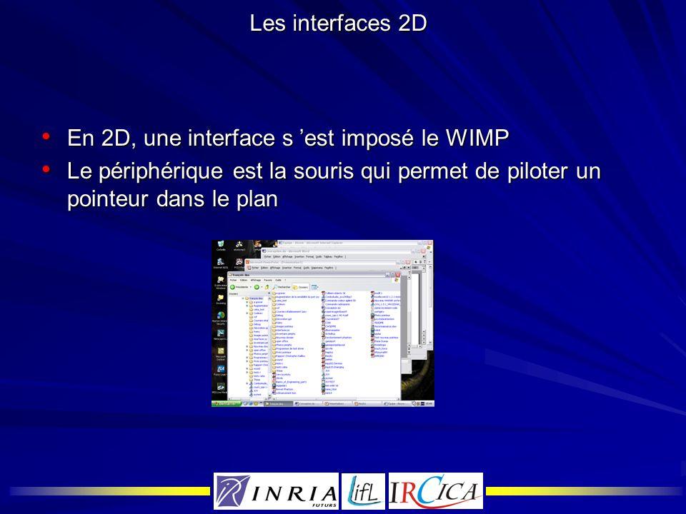 Les interfaces 2DEn 2D, une interface s 'est imposé le WIMP.
