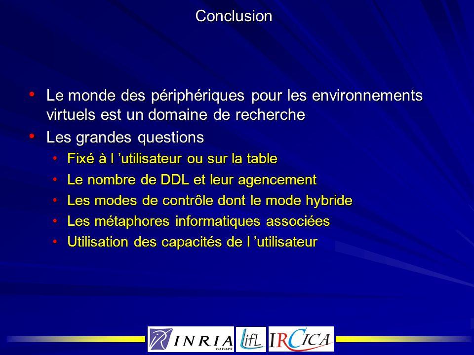 Conclusion Le monde des périphériques pour les environnements virtuels est un domaine de recherche.