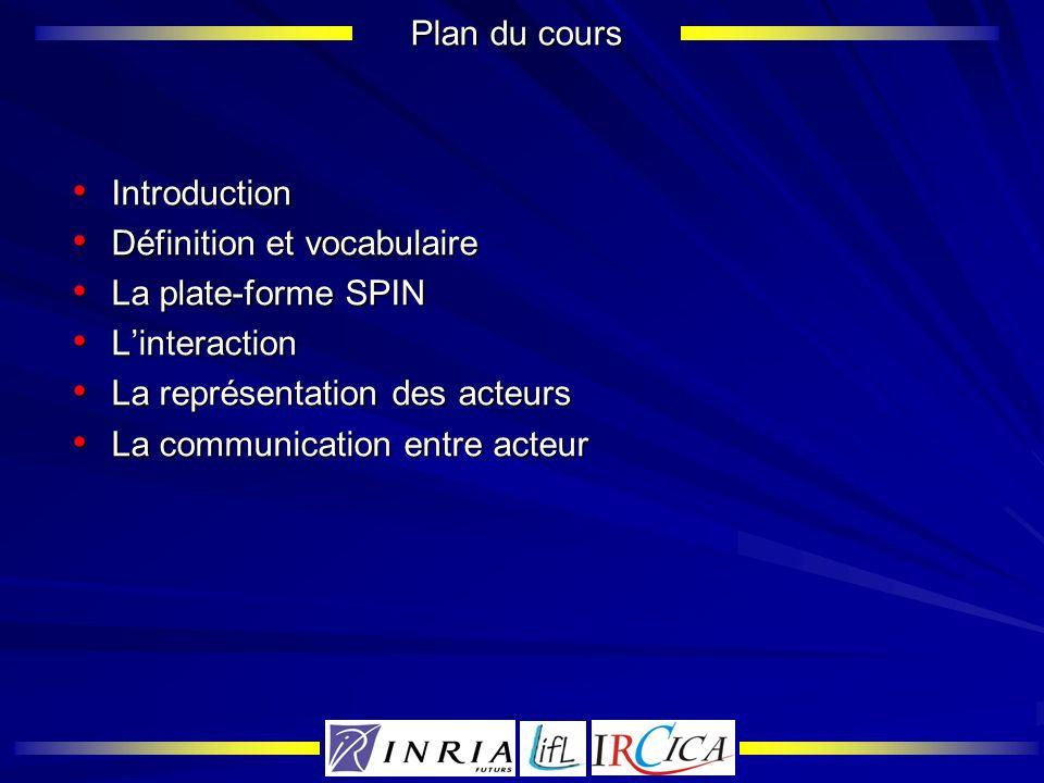 Plan du cours Introduction. Définition et vocabulaire. La plate-forme SPIN. L'interaction. La représentation des acteurs.