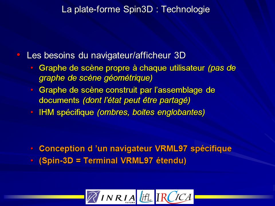 La plate-forme Spin3D : Technologie