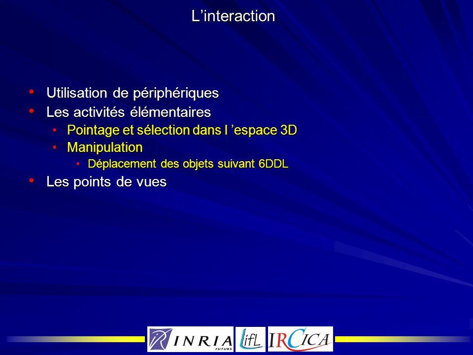 L'interaction Utilisation de périphériques Les activités élémentaires