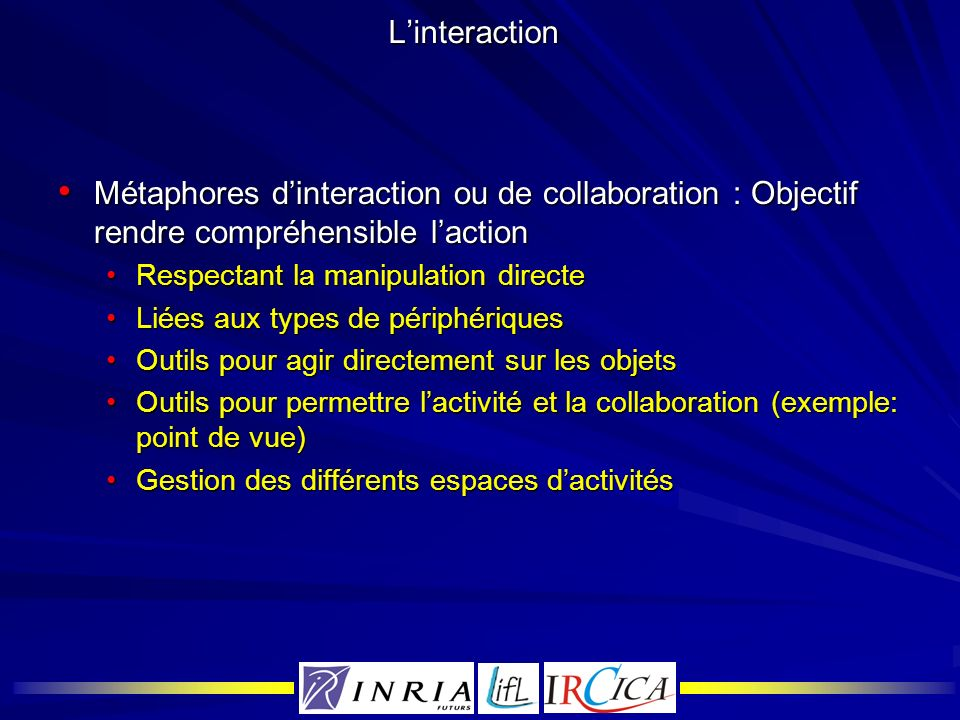 L'interaction Métaphores d'interaction ou de collaboration : Objectif rendre compréhensible l'action.