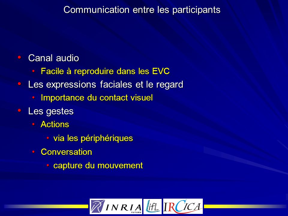 Communication entre les participants