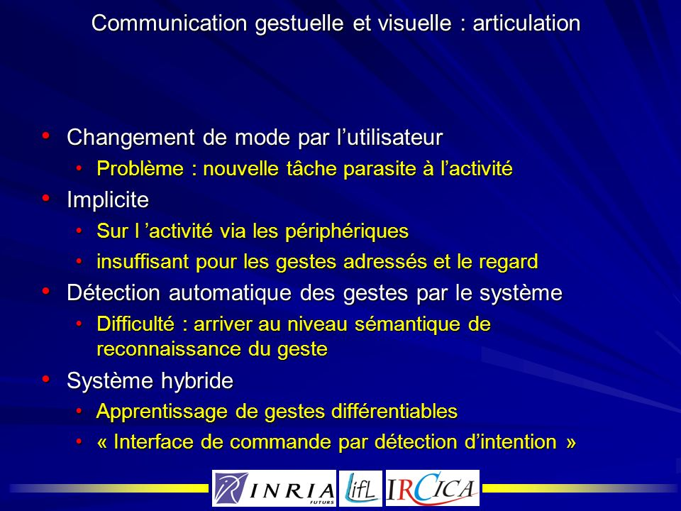 Communication gestuelle et visuelle : articulation