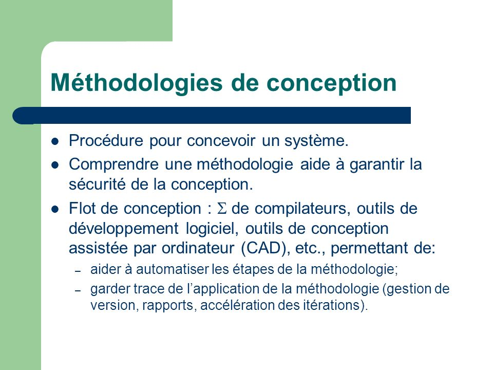 Méthodologies de conception