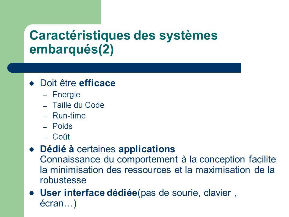 Caractéristiques des systèmes embarqués(2)