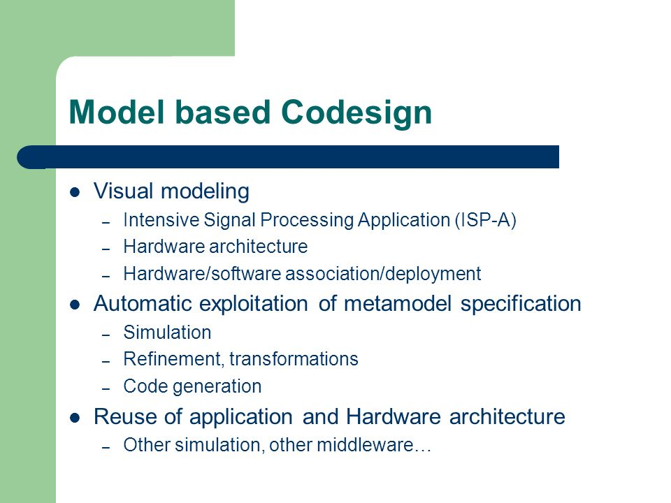 Model based Codesign Visual modeling