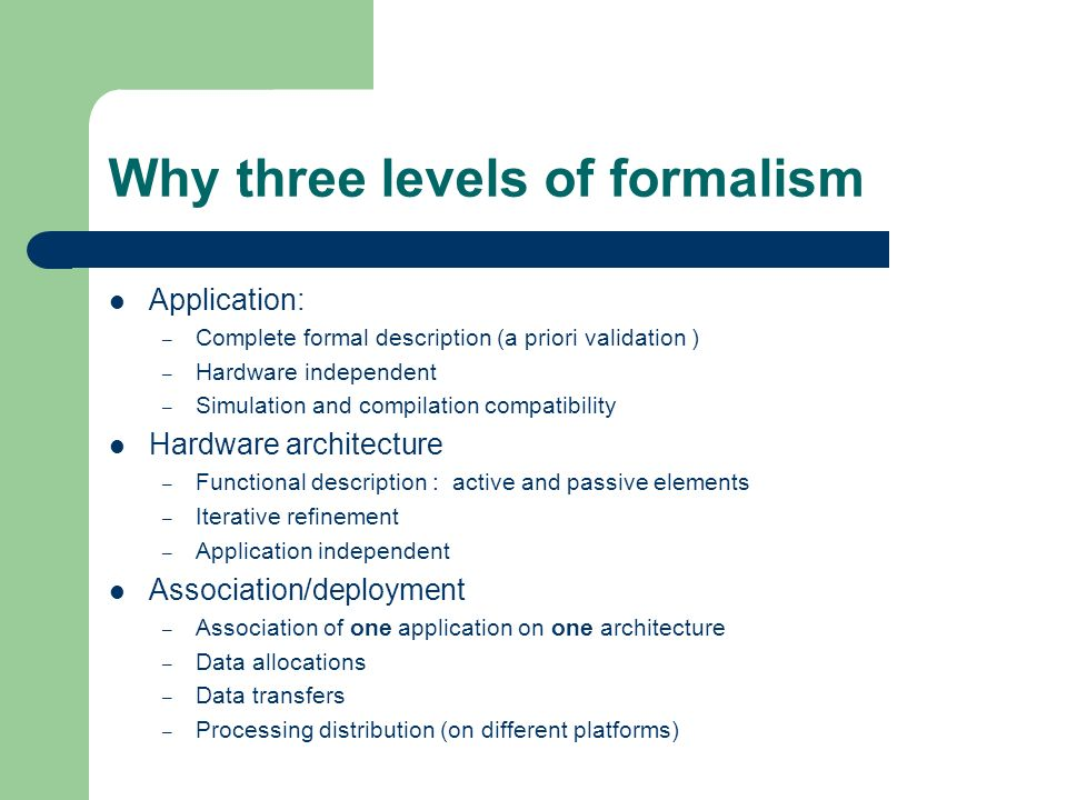 Why three levels of formalism